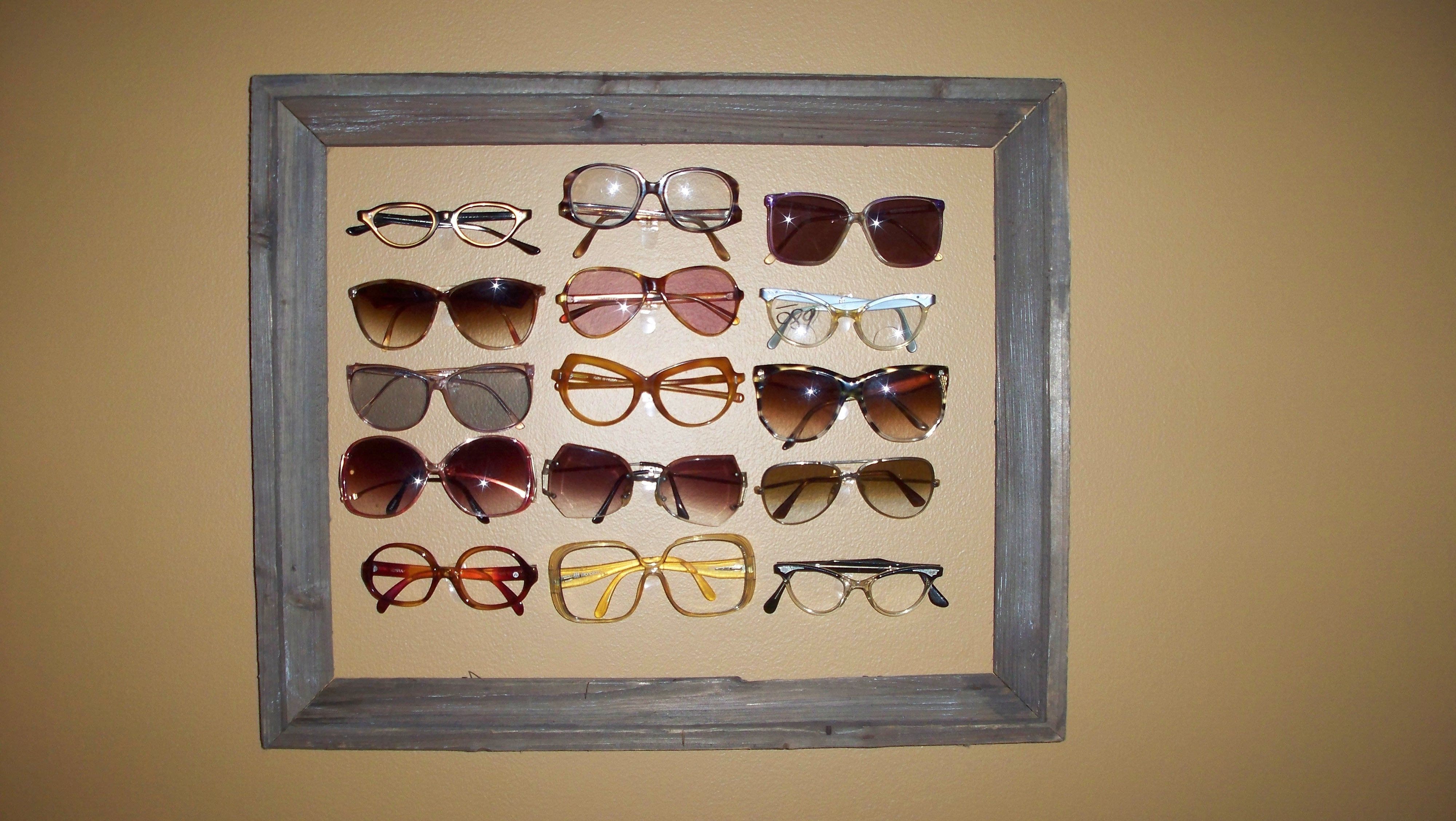 22eb1d234b I have a little collection of vintage eyeglasses and needed a place to  display them. I made up this eyeglass frame by using 3m (small clear)  attachments and ...