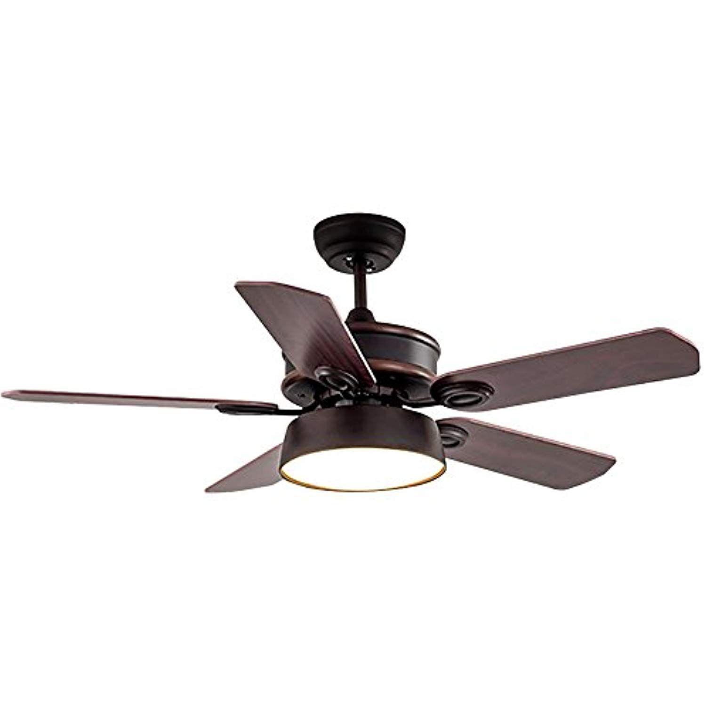 Rainierlight Modern Ceiling Fan 5 Wood Blades Acrylic Cover Remote
