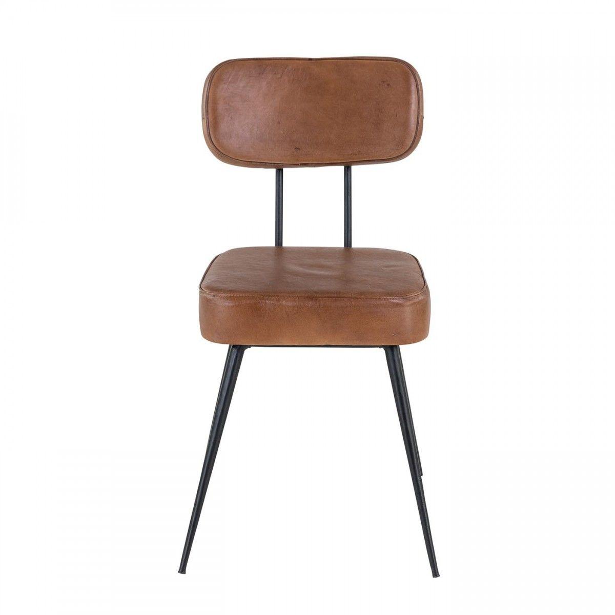 Chaise Style Industriel Cuir Et Metal Marron Bela Lot De 4 Chaise Cuir Marron Chaise Style Industriel Chaise Cuir