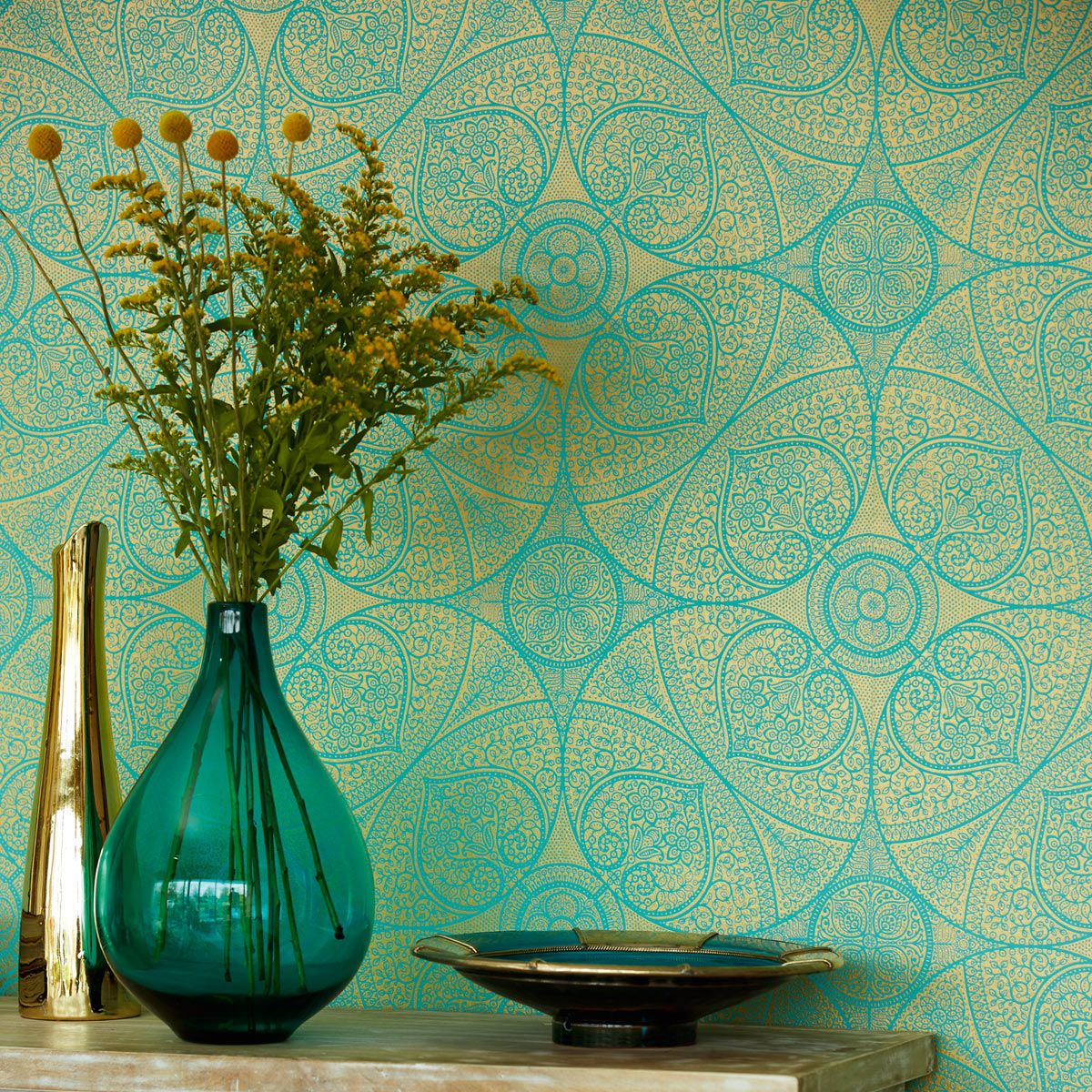 Yasmin wallpaper turquoise and gold Papier peint