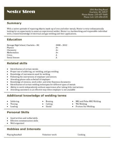 Free resume templates for high school students babysitting, fast - warehouse jobs resume