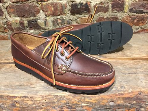 276be1ec75 Rancourt s Baxter Ranger Moc is made of Carolina Brown Chromexcel with  Lactae Hevea Crepe soles.
