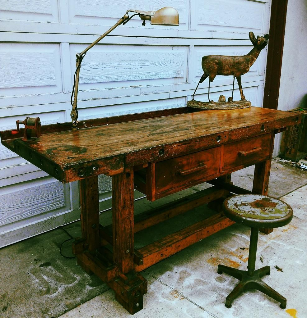 VINTAGE WOOD WORKERS WORK BENCH / DESK / KITCHEN ISLAND