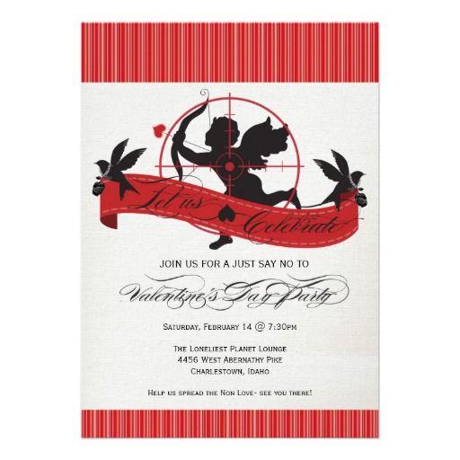 Lets Shoot Cupid Anti Valentines Day Party Invitation Anti