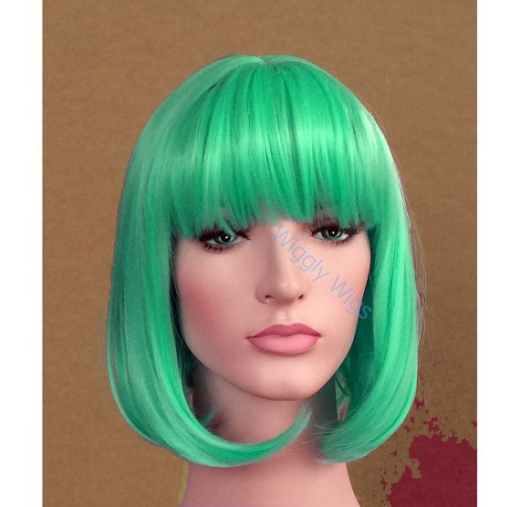 Check out Aqua blue bob wig short wig - ready to ship on wigglywigs