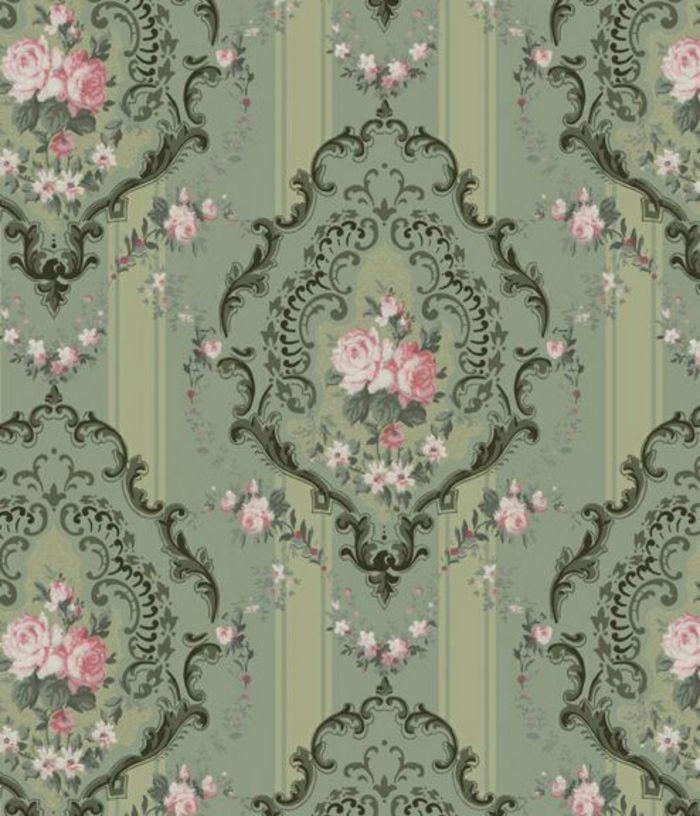 gr ne tapeten mit rosen motiven inspiriert vom rokoko stil wallpaper pinterest tapeten. Black Bedroom Furniture Sets. Home Design Ideas