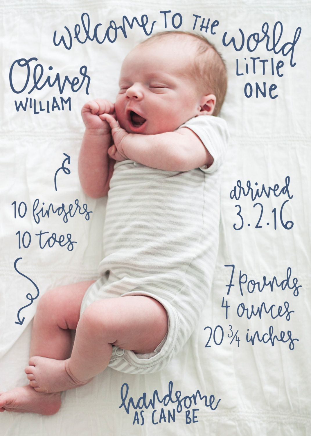Hand Lettered Quirky Birth Announcement Custom