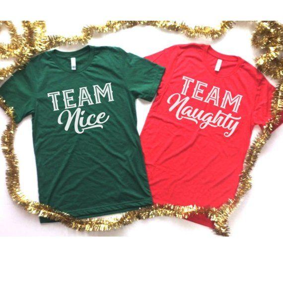2cc9440e9 Team Naughty, Team Nice, Matching Christmas Shirts, Ugly Christmas Sweater  Couple, Christmas Shirt S