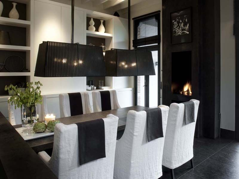 elegant black and white dining room - wolterinck | interieur