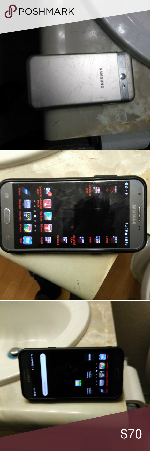 Samsung Galaxy J3 Prime with red case It has a few scratches