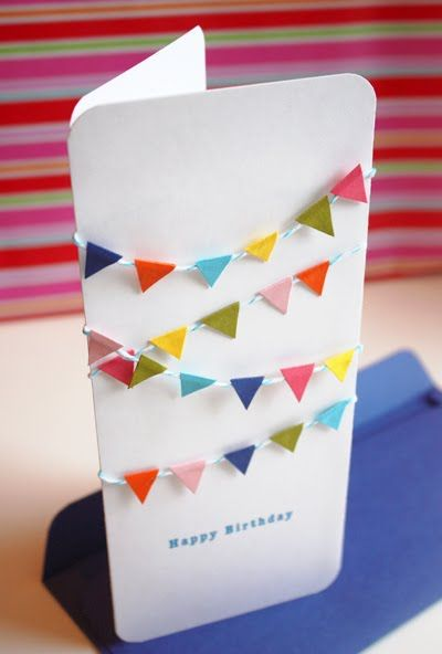 DIY birthday card Invitations Pinterest Mini bunting - birthday invitation homemade