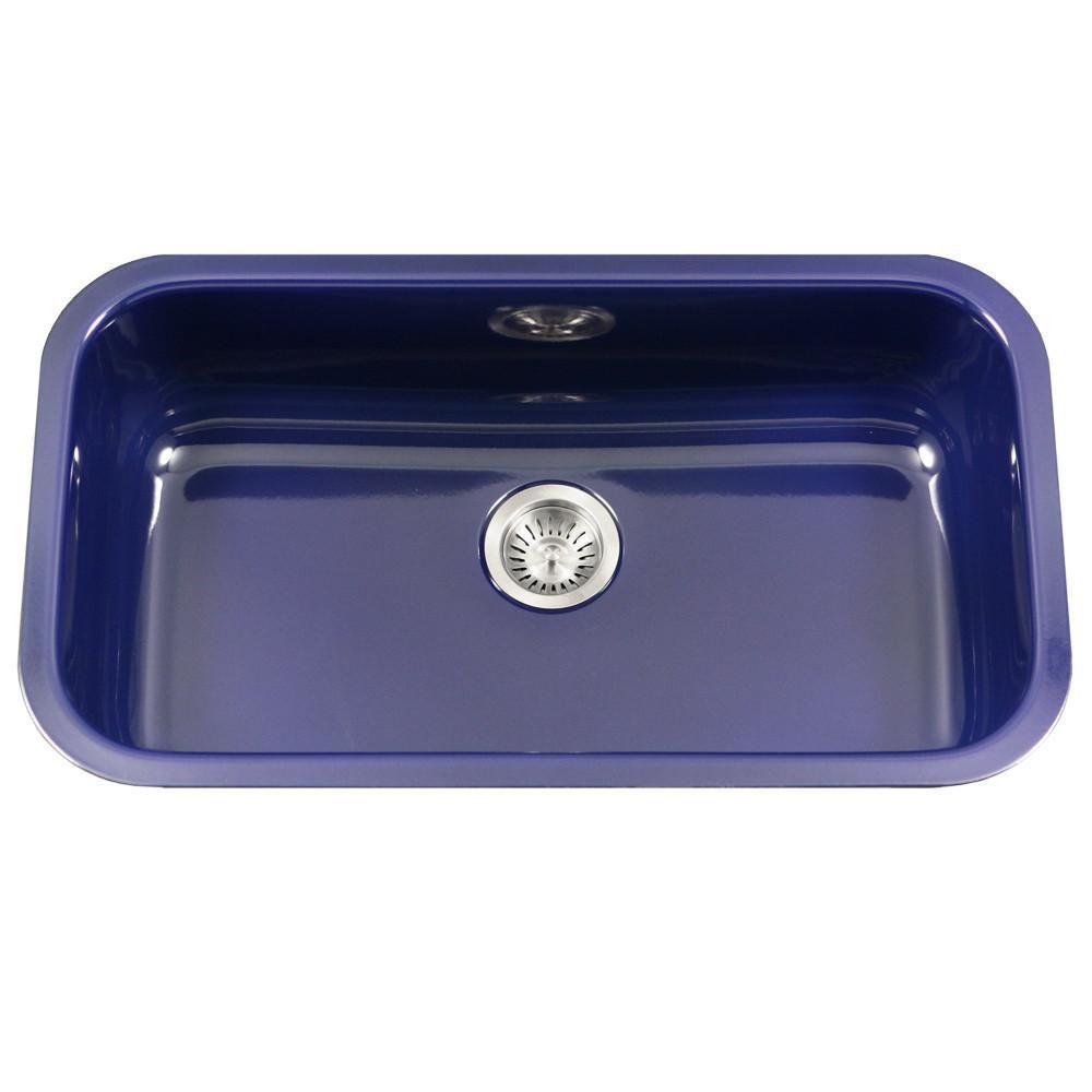 Houzer Nb Porcela Series Porcelain Enamel Steel Undermount Large Single Bowl Kitchen Sink Navy Blue Single Bowl Kitchen Sink Sink Porcelain Kitchen Sink