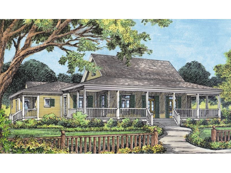 Campville Country Acadian Home Design With Wrap Around Porch From Houseplansandmore