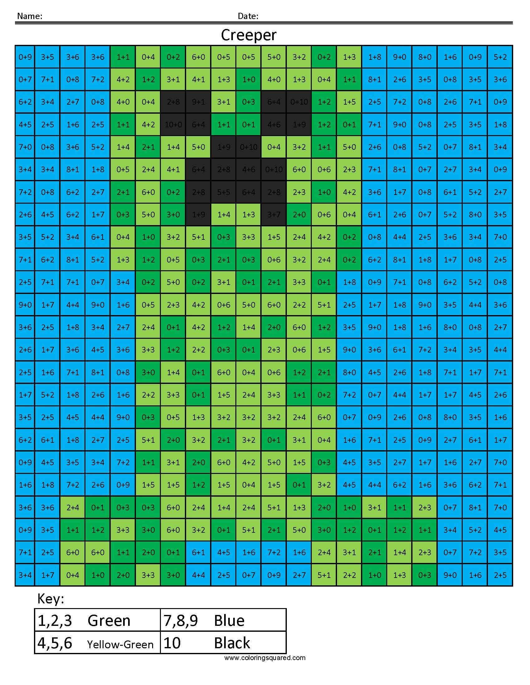 Minecraft Coloring Squared page creeper | Minecraft | Pinterest ...