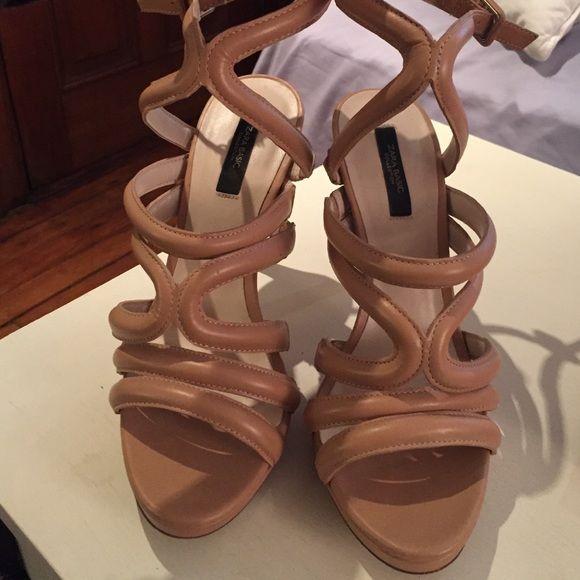 Zara nude scrappy heeled sandals Never worn! Zara Shoes Heels