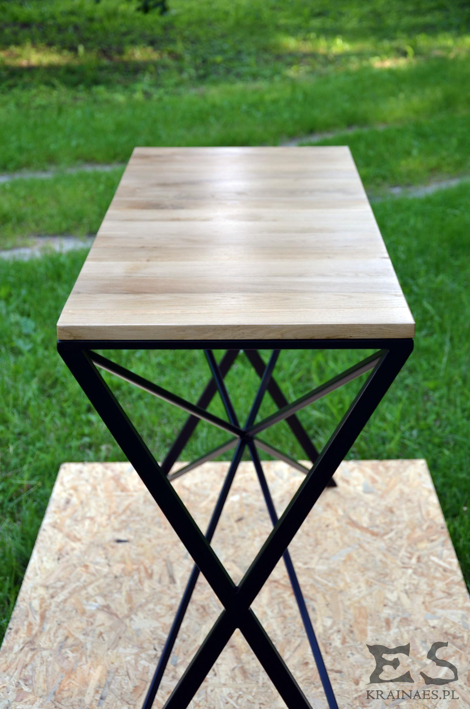 Console, konsola, iron, wood, oak, industrial, furniture
