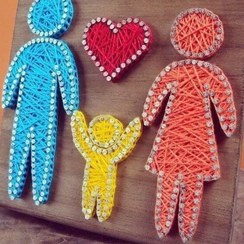 diy string heart awwwww i love this but with a boy and a girl child want