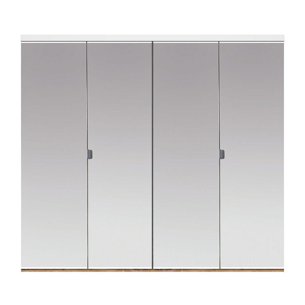 Impact Plus 71 In X 84 In Beveled Edge Mirror Solid Core 1 Lite Mdf Interior Closet Wood Bi Fold Door With White Trim Bb344 7184w Beveled Edge Mirror Mirror Closet Doors Interior