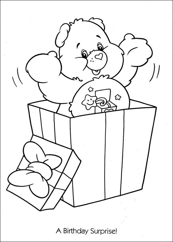 Care Bears birthday surprise coloring