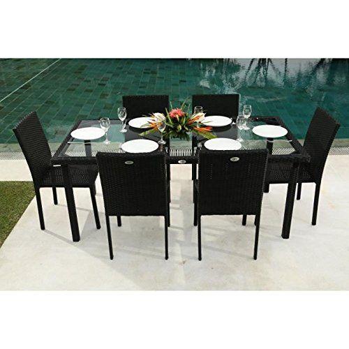 Ensemble table de jardin 180 cm et 6 chaises résine tressée gris ...