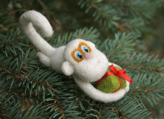 Chinese zodiac sign needle felted monkey with gift box by vilnone