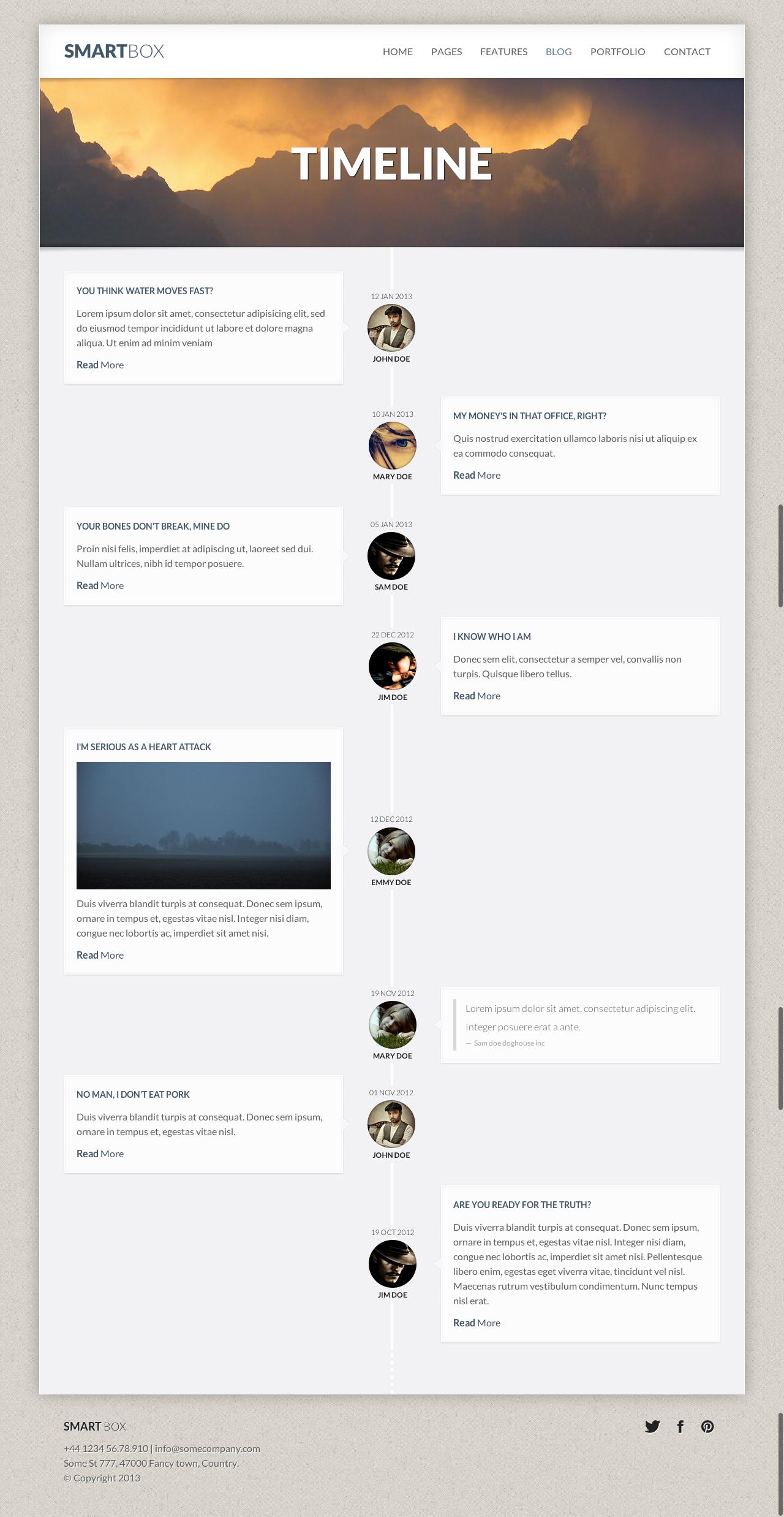 SmartBox Responsive WordPress Bootstrap Theme Timeline - Timeline website template