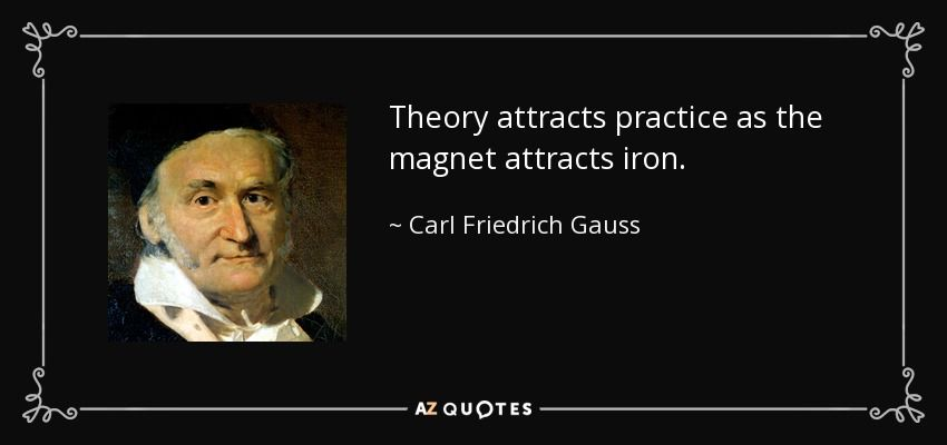Theory Attracts Practice As The Magnet Attracts Iron Carl