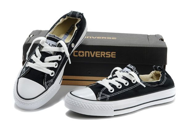 Classic Black Converse Slip-on Styling Chuck Taylor Shoreline All Star Low  Tops Canvas Shoes