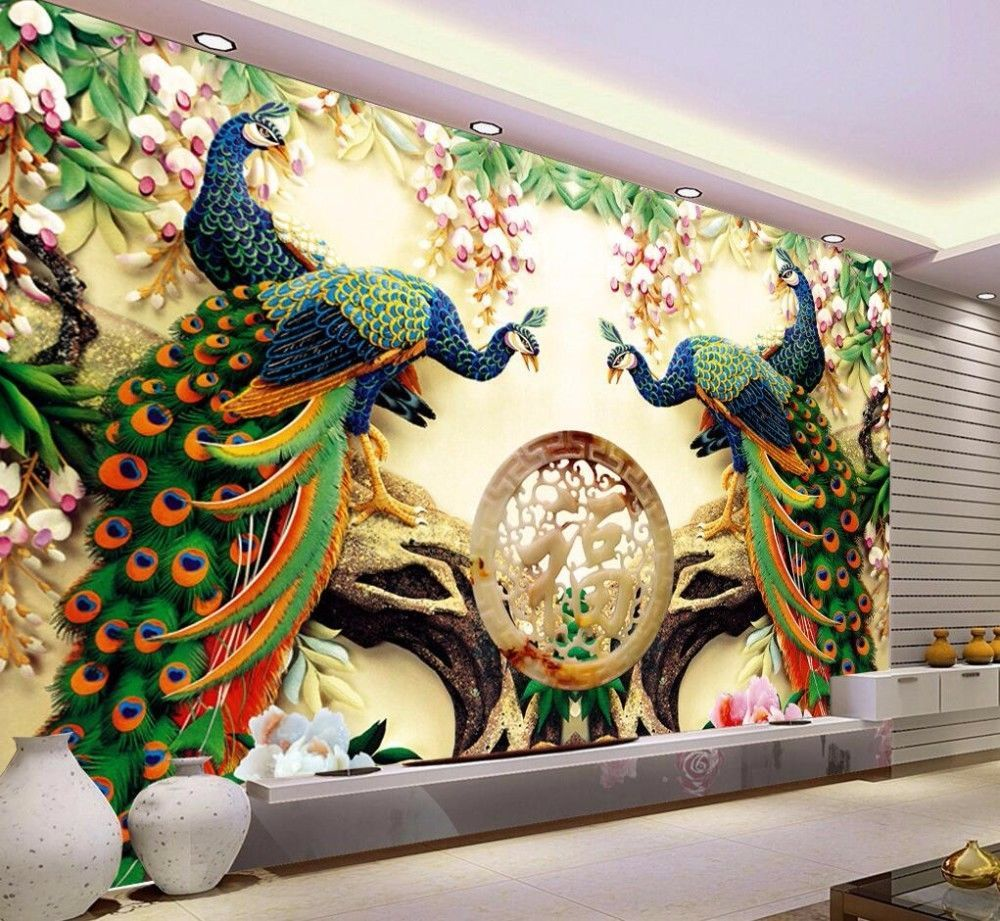 Home Decor Peacock Green Branches Murals De Pared 3D Wall Paper Hotel Background