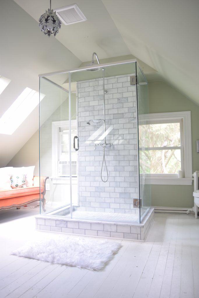 Attic Bathroom Marble Subway Tile Painted White Wood Floor Bright White Glass Shower Farmhouse Bathroom Attic Shower Bathroom Inspiration