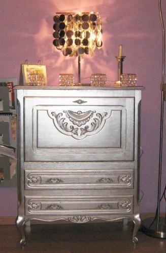 Meuble Customisé Peinture diy : meuble customisé peinture argent | miss bidibulle - créations