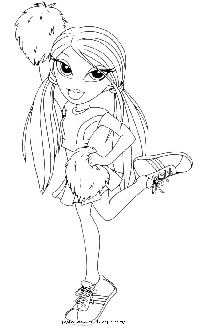 Bratz Cheerleading Coloring Pages | Here Is A Bratz Cheerleader Coloring  Page For You To Click On And Then .
