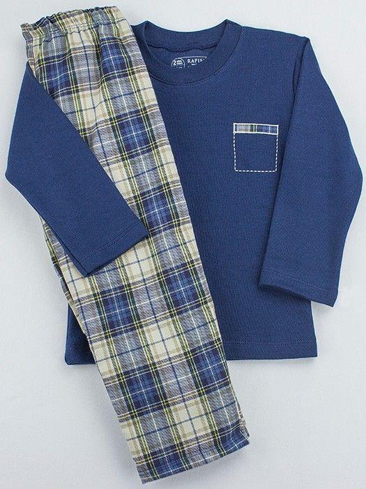 497ef835b PIjama infantil de Rapife 100% hecho en España. Combina camiseta de punto  con pantalón de tela a cuadros.