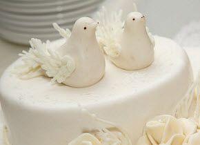 Doves Cake Pick with Stone Finish cake top Dove wedding  cake topper