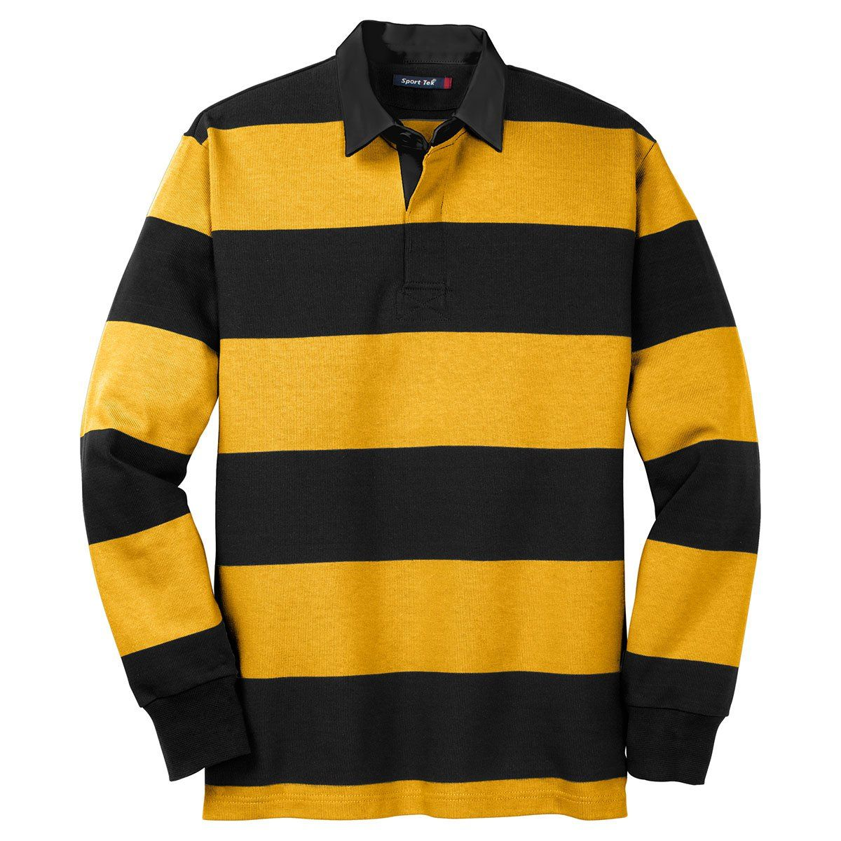fa1a31d2c7f Sport-Tek Men's Black/Gold Long Sleeve Rugby Polo | Products