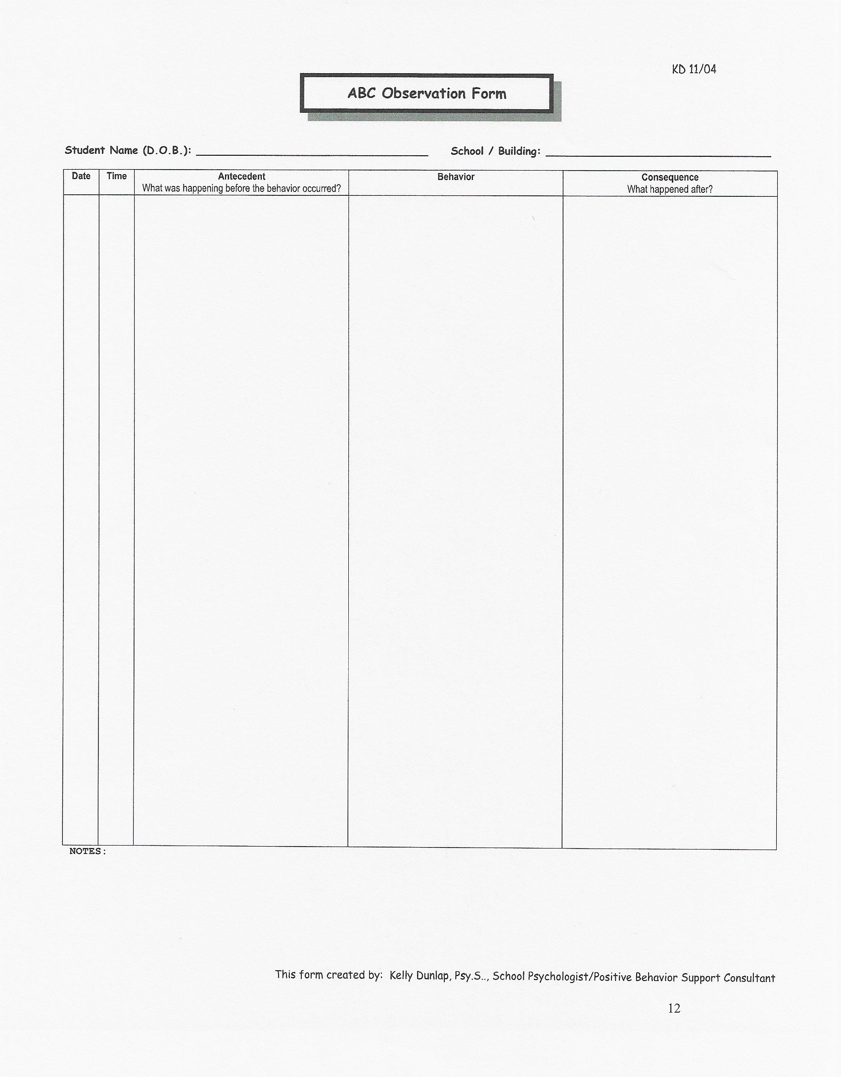 Abc Observation Form