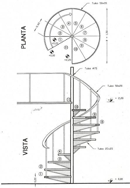 Detalles constructivos escaleras escalera caracol planta y for Construccion de escaleras