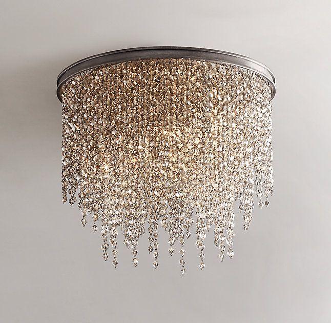 Example Of Flush Mount Think I Prefer Hanging Athena Crystal Flushmount Smoke Chandelier Bedroom Ceiling Lights Bedroom Lighting Ceiling mount crystal chandelier