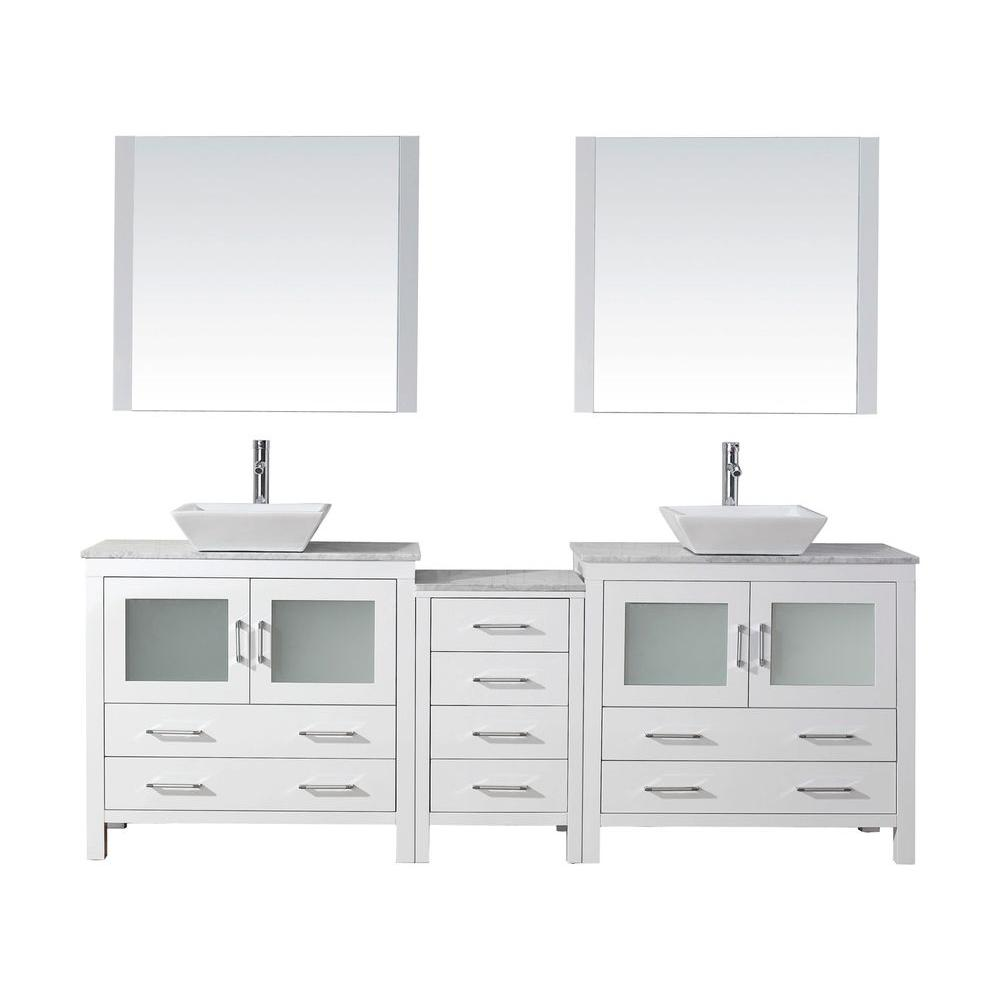 Virtu Usa Dior 91 In W Bath Vanity In White With Marble Vanity Top In White With Square Basin And Mirror And Faucet Kd 70090 Wm Wh Marble Vanity Tops Double Vanity Bathroom Virtu Usa [ 1000 x 1000 Pixel ]
