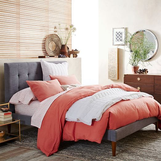 Grid-Tufted Upholstered Tapered Leg Bed West Elm Condo Design