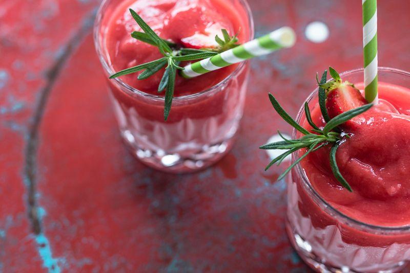 Strawberry Gin Rosemary Slush made in a Vitamix