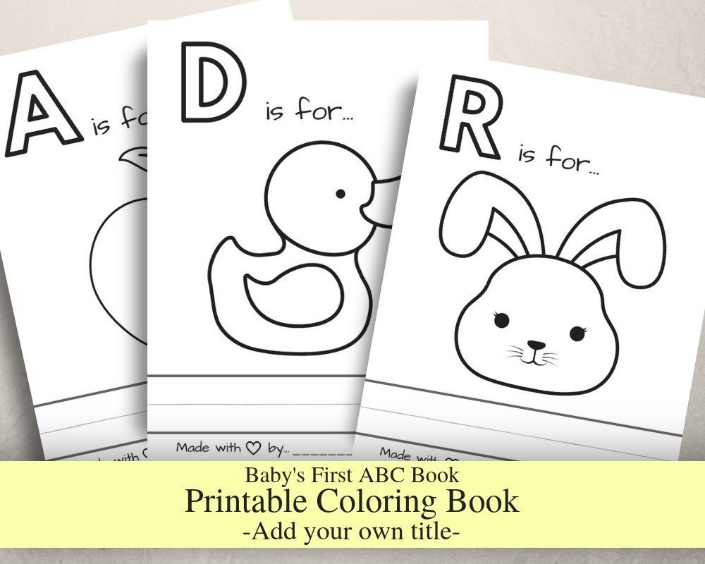 Baby S First Abc Book Without Titles Baby Shower Game Coloring Book Printable Pdf Letter Size Prefilled Coloring Pages In 2020 With Images Abc Book Abc Coloring Pages Printable Coloring Book