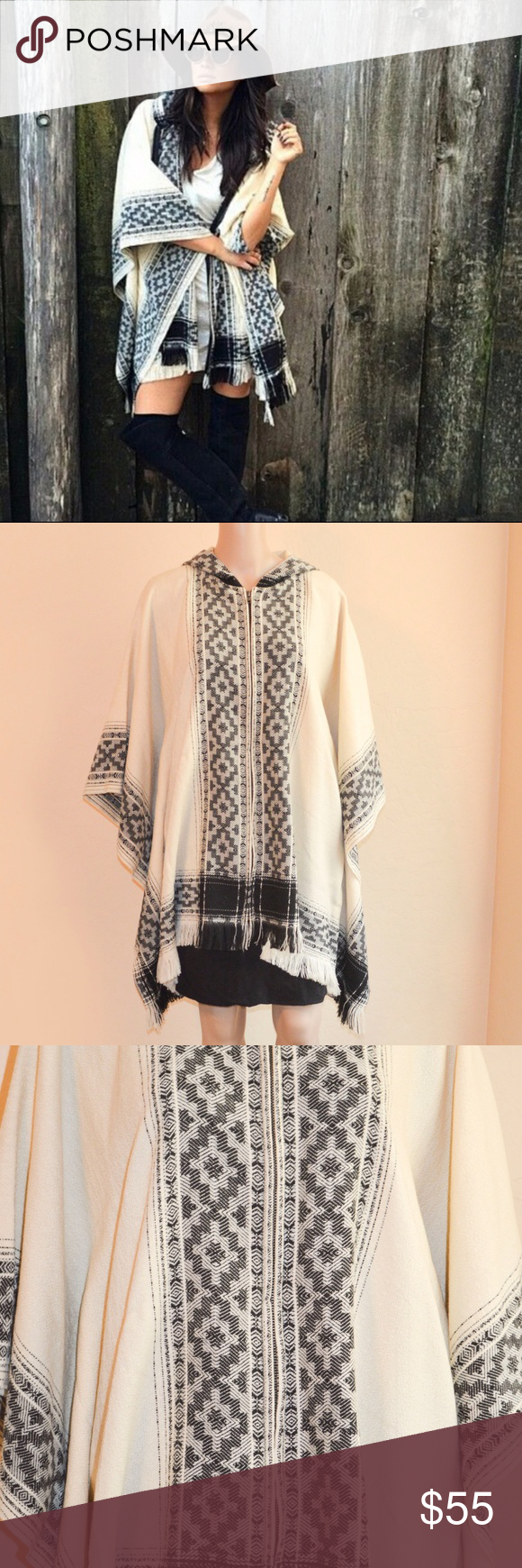 """NWT Ecote Neutral Hooded Blanked Poncho Jacket Ecote black & cream hooded boho Blanket Poncho Jacket from Urban Outfitters. Fringe hem. Zip up front. Perfect for fall!  Size: One Size  Measurements Laying Flat -  Underarm to Underarm: 31"""" Shoulder to Hem: 31""""  Material: 100% Acrylic  Condition: NWT - couple tiny pulled threads from trying on. Ecote Jackets & Coats"""
