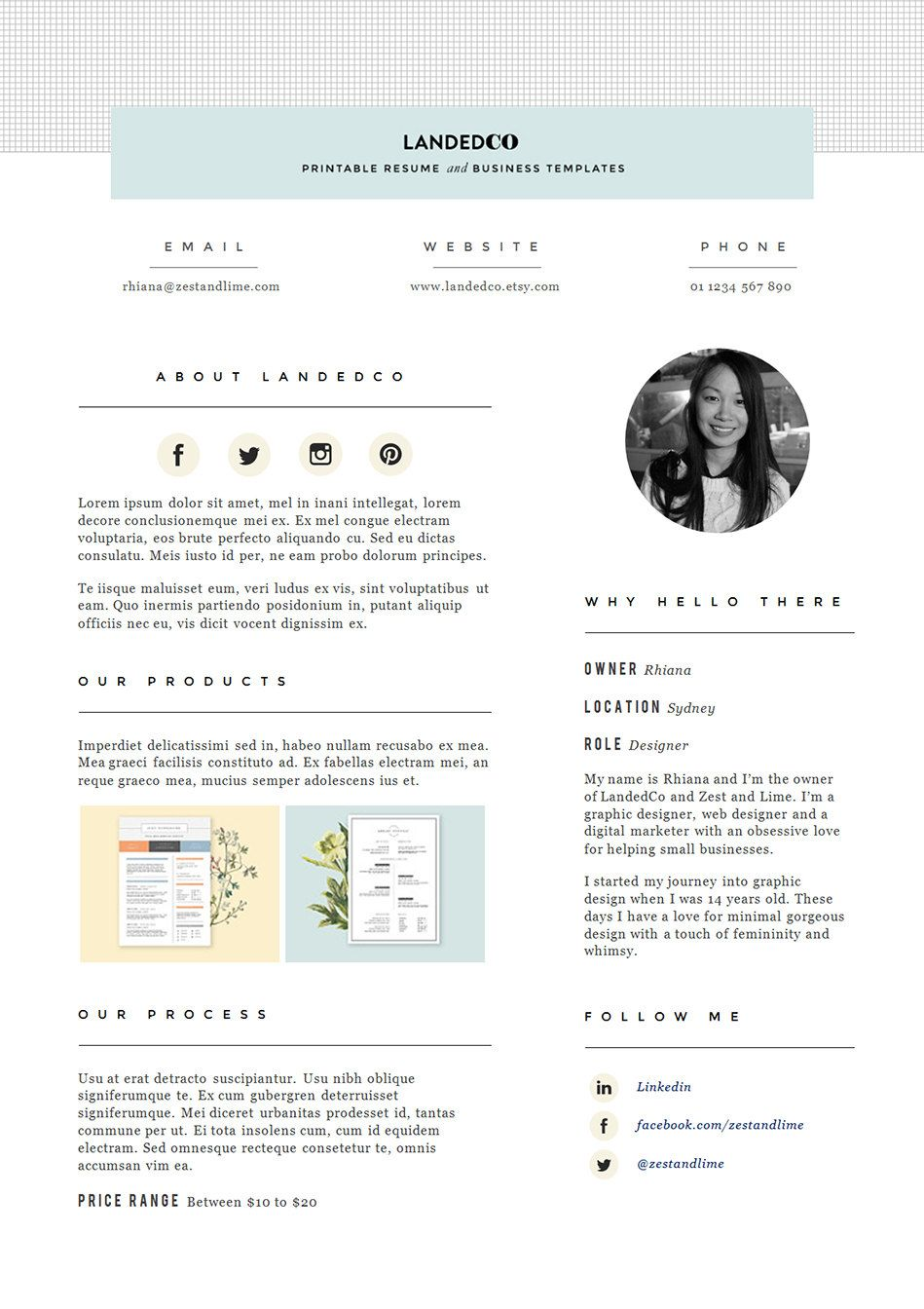 Media Kit template Press Kit design Pitch kit for Etsy by landedCo ...