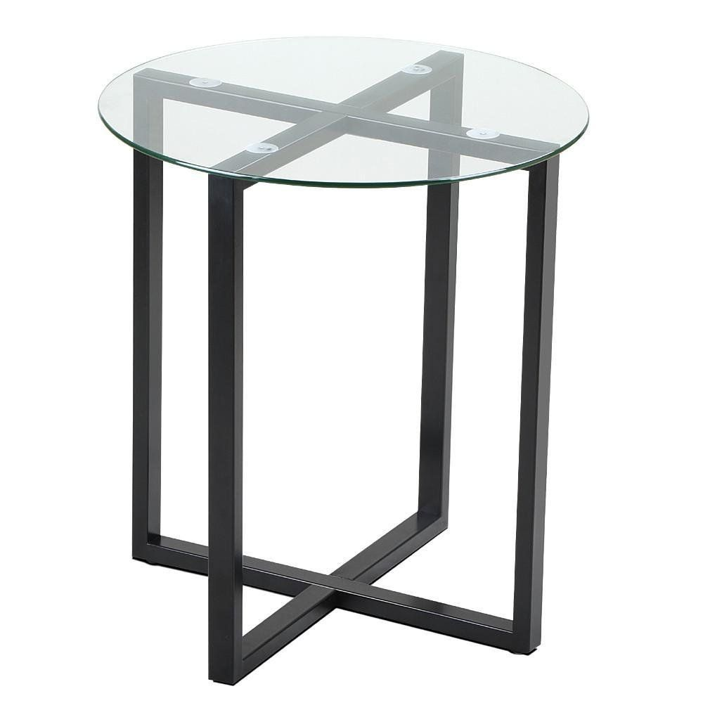 Yaheetech end side table round glass top coffee sofa table modern small spaces bedroom living room furniture click image to review more details