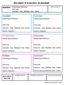 weekly exercise journal free printable fitness health and
