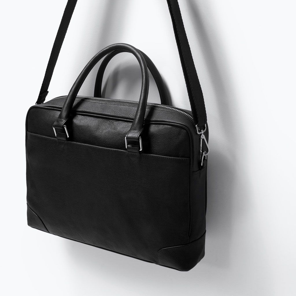 73946e87cc New in at Zara. Men's black leather briefcase. Great value product ...