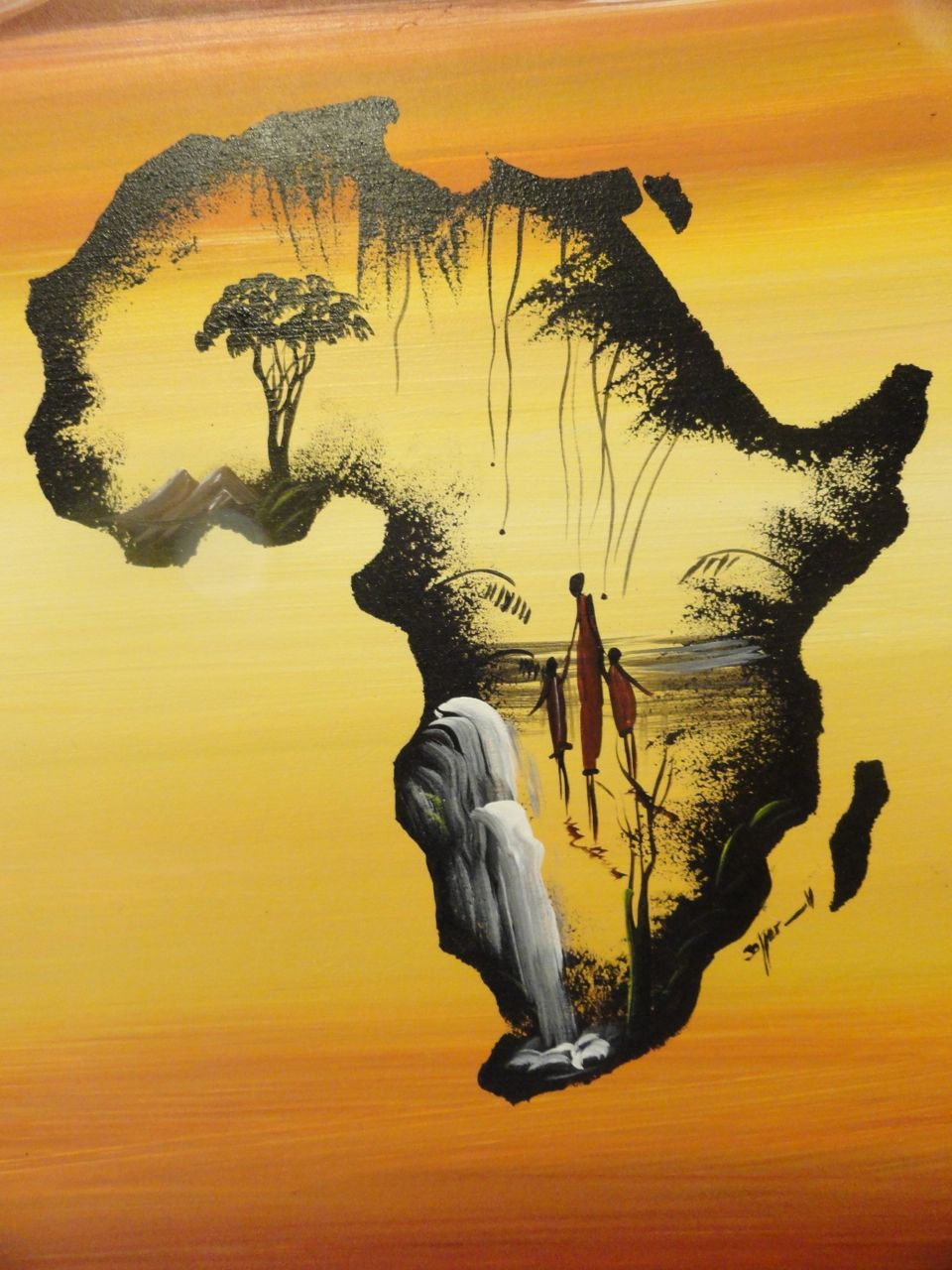 Beautiful, hand-painted depiction of Africa.  The main scene is set within the outline of Africa and consists of a waterfall, African family, and trees!    ~Painted by hand and unique!    ~Pre-stretched and comes on it's frame.  Add the hanging hardware of your choice!    ~Painting measures 19 3/... #africanbeauty