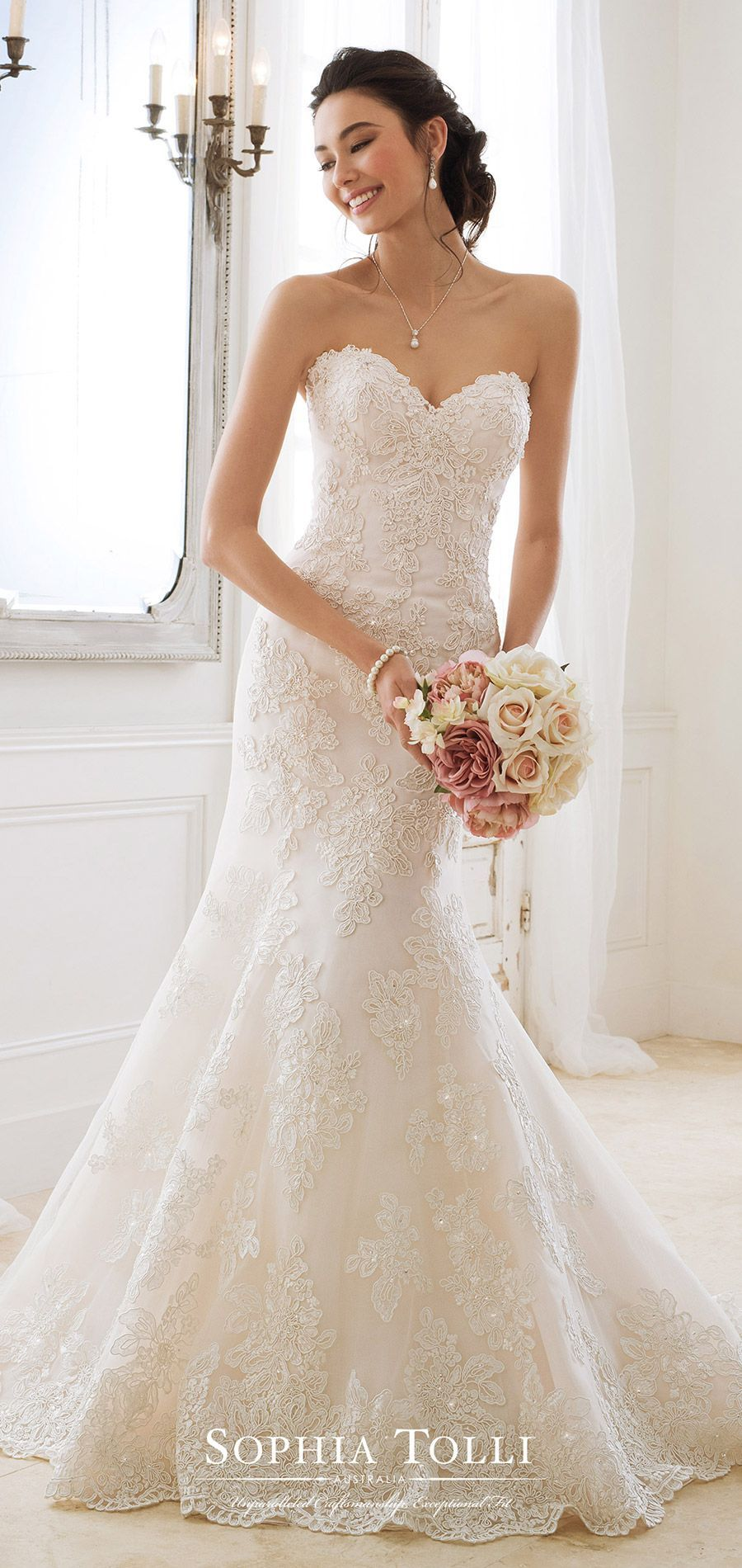 Fit and flare lace wedding dress  Sophia Tolli spring  mon cheri bridals strapless sweetheart