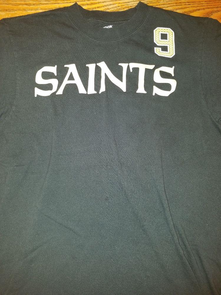 New Orleans Saints NFL Football t-shirt Reebok Adult Medium Black  9 Drew  Brees  Reebok  NewOrleansSaints 401610040
